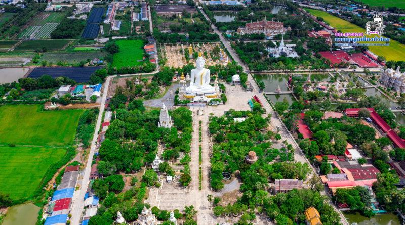 พระกกุสันโธ วัดไผ่โรงวัว พระพุทธรูปปางมารวิชัยที่ใหญ่ที่สุดในโลก #ภาพมุมสูงเที่ยวทั่วไทย #aerialthailand
